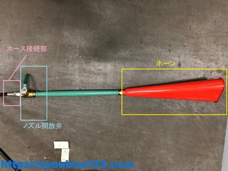 ノズル開放弁とホース接続部の例